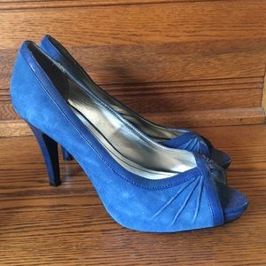 Style & co peep toe suede heels sz 9